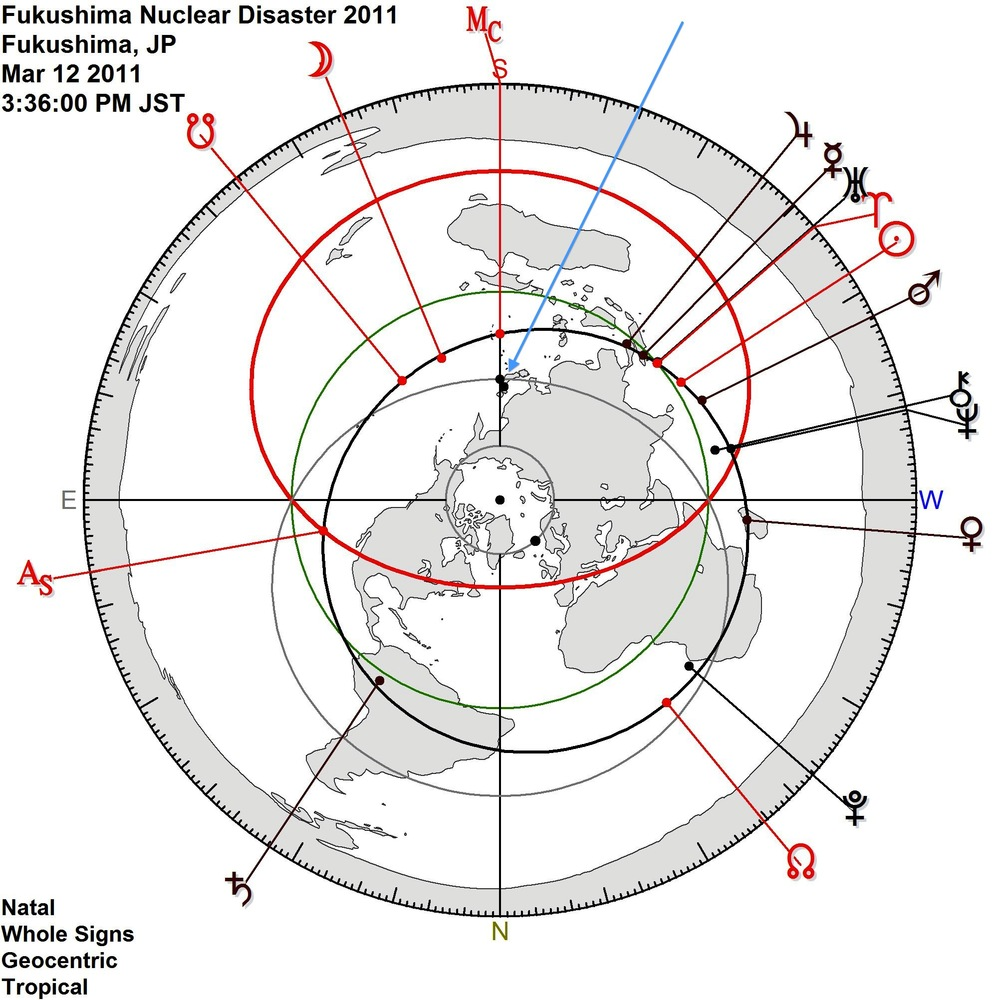 Polar Azimuthal map of world at time of incident.