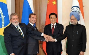 BRIC Leaders Meeting L-R; Former Brazilian PresidentLuiz Inácio Lula da Silva, Russian PresidentDmitry Medvedev, Chinese PresidentHu Jintao, India's Prime MinisterManmohan Singh