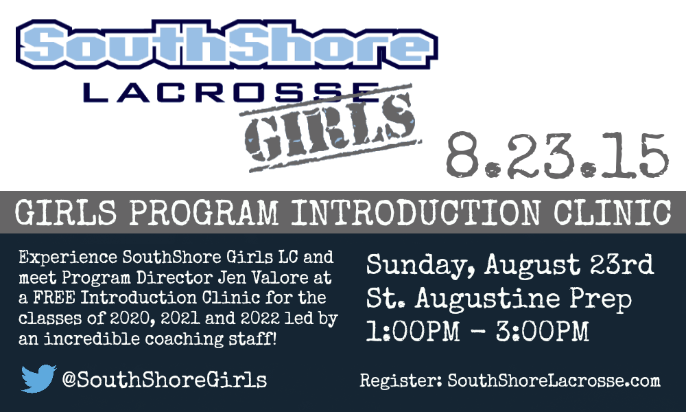 SouthShore Girls LC will be holding a FREE clinic for the classes of 2020, 2021 and 2022.  Register HERE