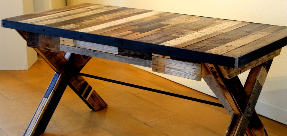 industrial reclaimed wood table