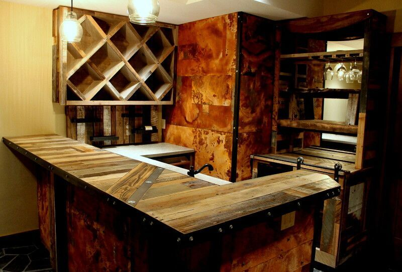reclaimed wood industrial bar