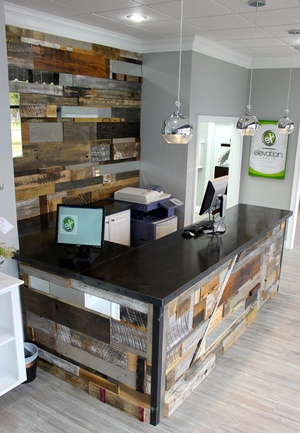 reclaimed wood commercial installation