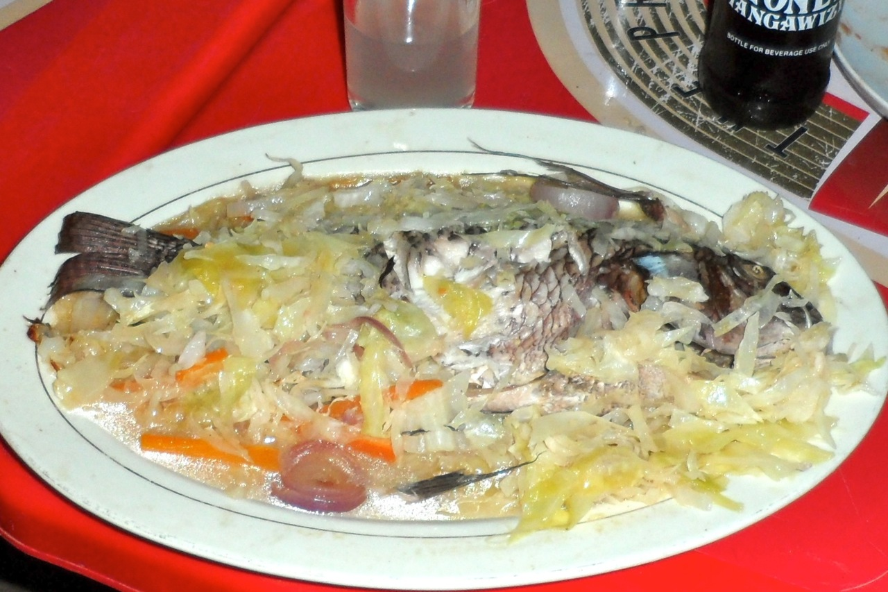 Samaki (Fish) from Nicks Pub. Eaten with your hands and very tasty.