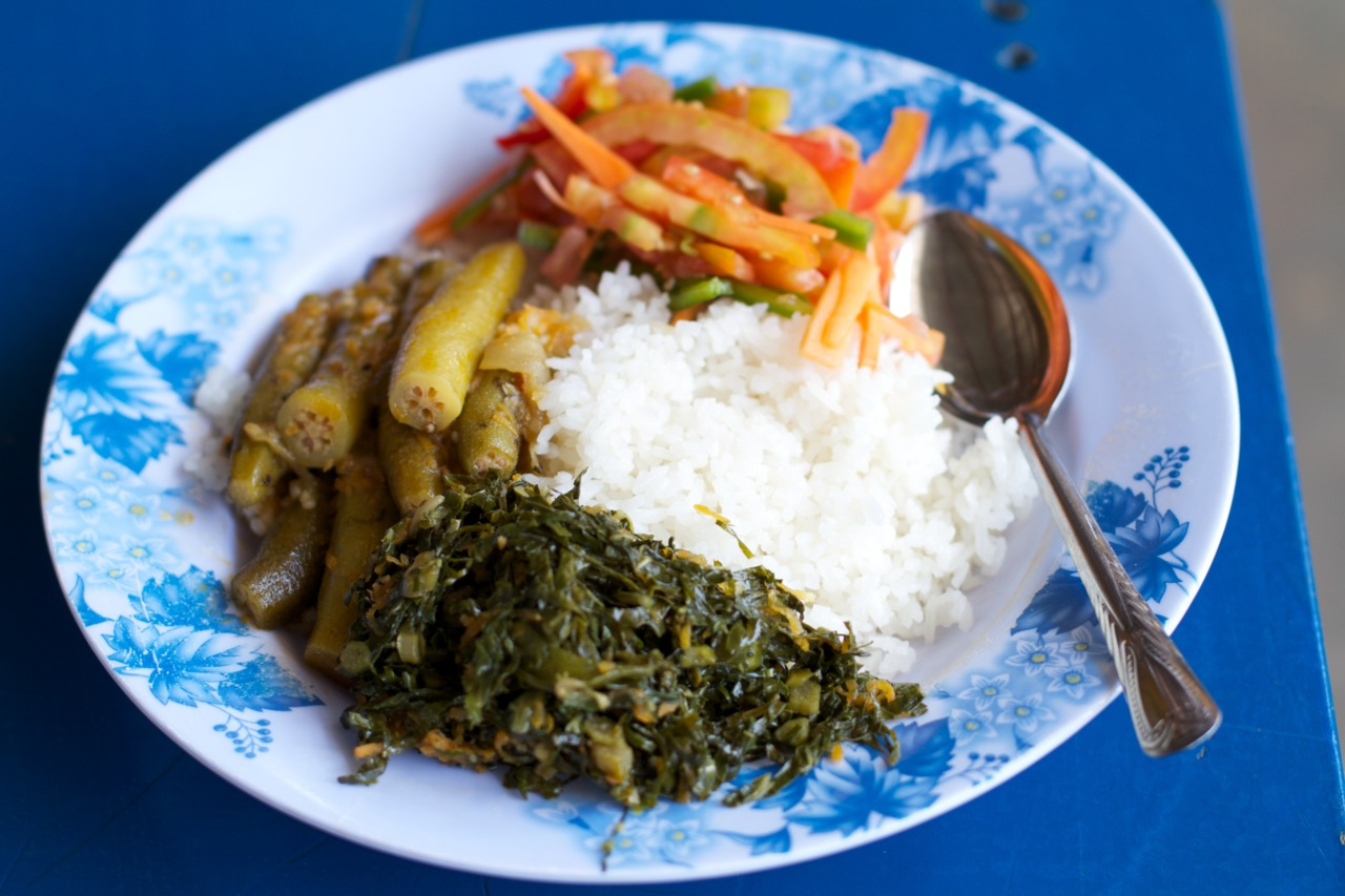 School lunch, Wednesday. Rice and Vegetables. My least favourite. Not sure if you can tell the size of the serving from the picture, but I'm working my way up to a Fundi (worker) size serving. The Fundi's tend to only eat once a day, so they pile the plate up high.