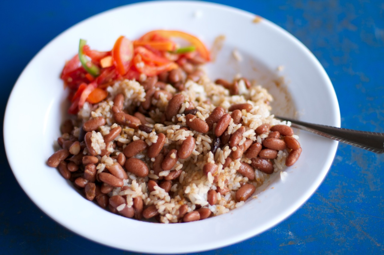 School lunch, Monday. Beans and Rice.