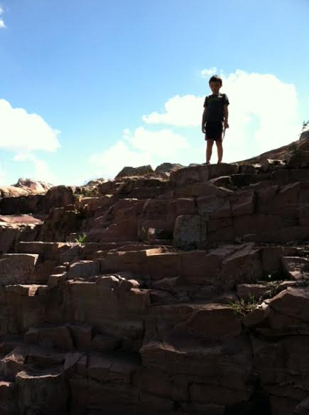 M. overlooking the Sioux quartzite, Falls Park by Miranda B.