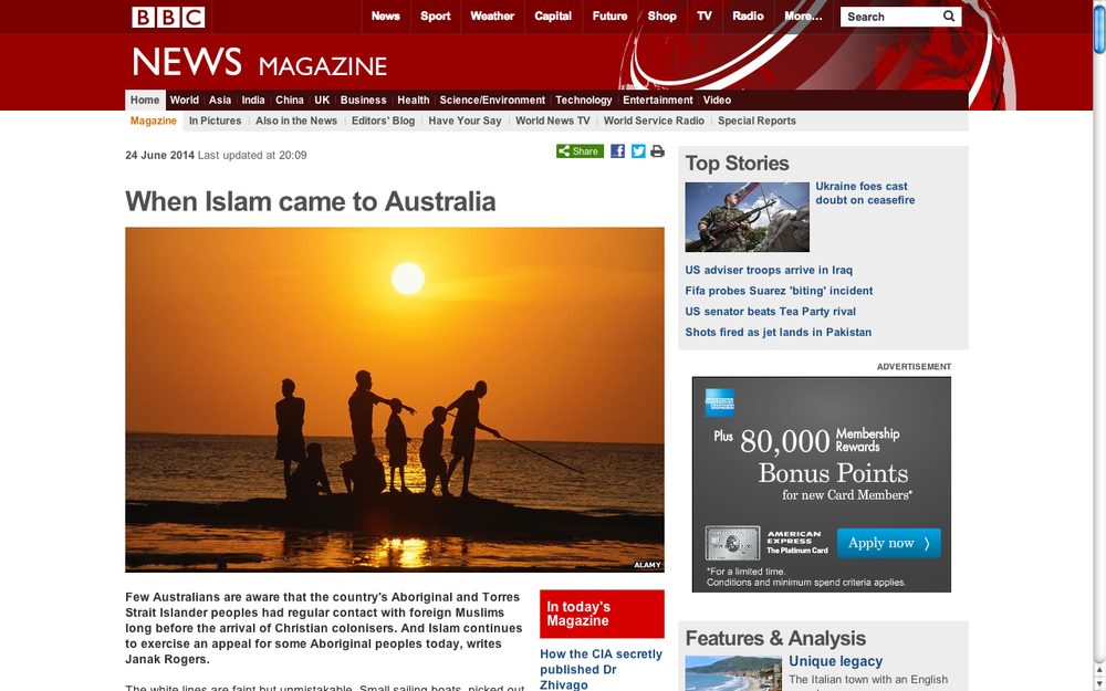 When Islam came to Australia. BBC Magazine. (Accompanying 26-minute radio documentary.)