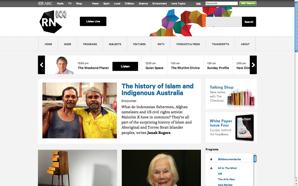 Islam and Indigenous Australia. ABC RN. (Accompanying 52-minute radio documentary.)