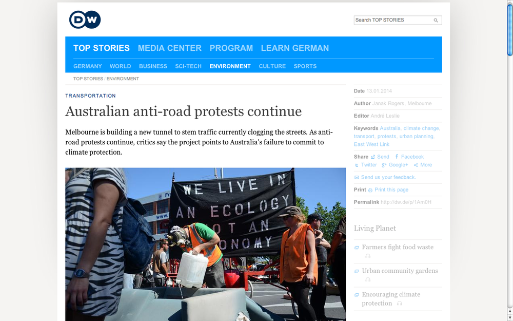 Australian anti-road protests continue. DW. (Accompanying 8-min radio feature.)