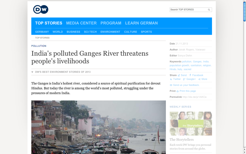 India's polluted Ganges threatens livelihoods. DW.  (Accompanying 11-minute radio feature.)