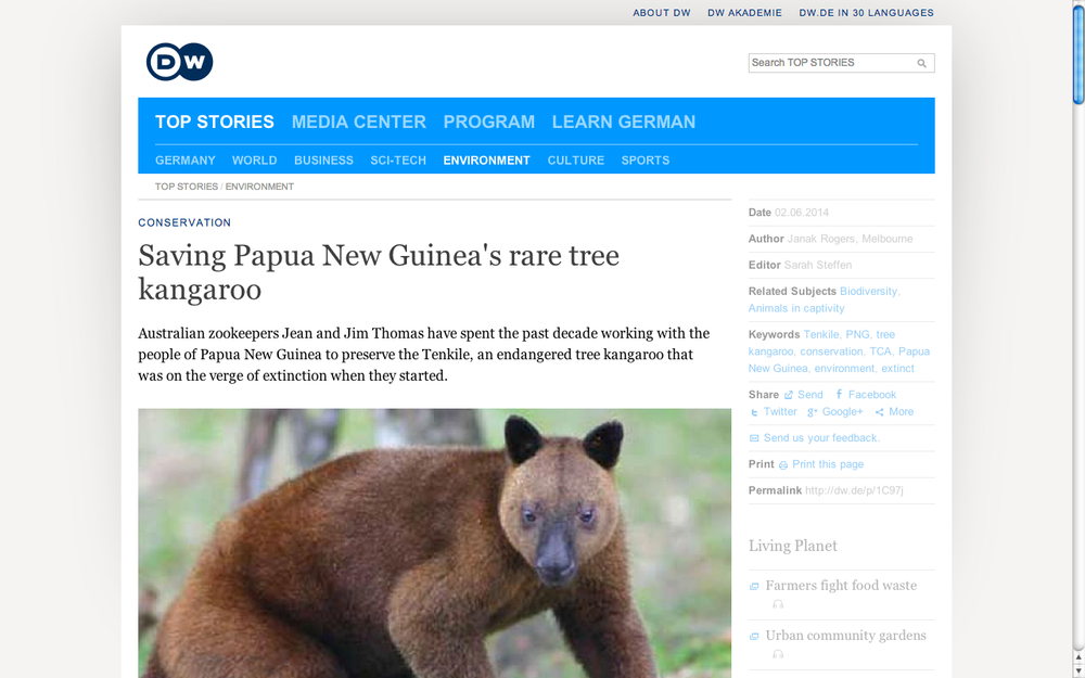 Saving PNG's rare tree kangaroo. DW.  (Accompanying 9-minute radio feature.)