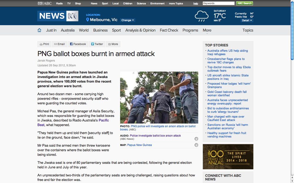 PNG ballot boxes burnt in attack. ABC News.