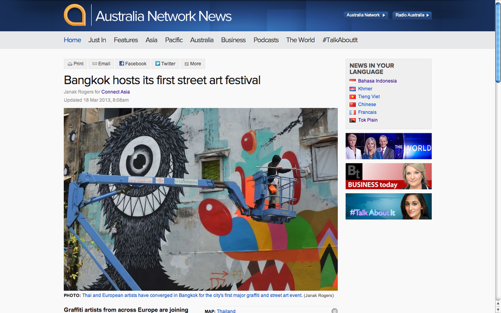 Bangkok hosts its first street art festival. Australia Network News.