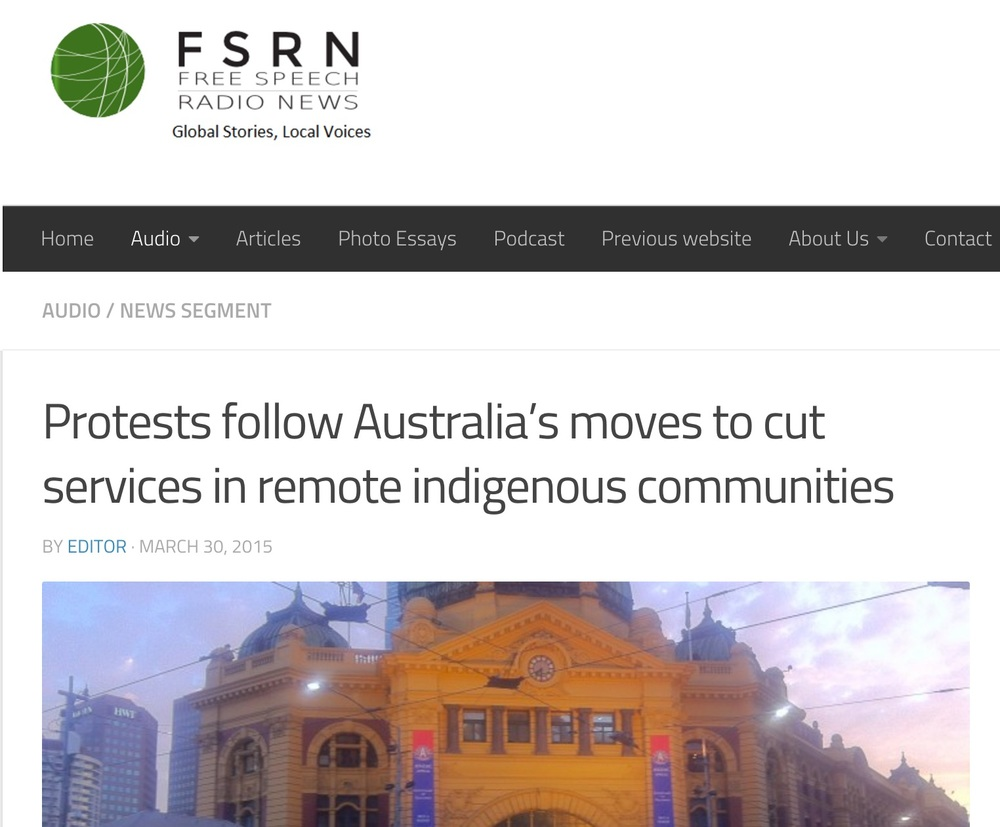 Protests follow remote indigenous community cuts. (FSRN, March 2015.)