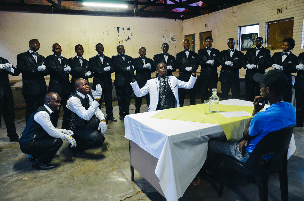 The Ulundi King Boys, a Johannesburg-based isicathamiya group, performing at a competition in Thokoza township on 25 February, 2016. Credit: Janak Rogers