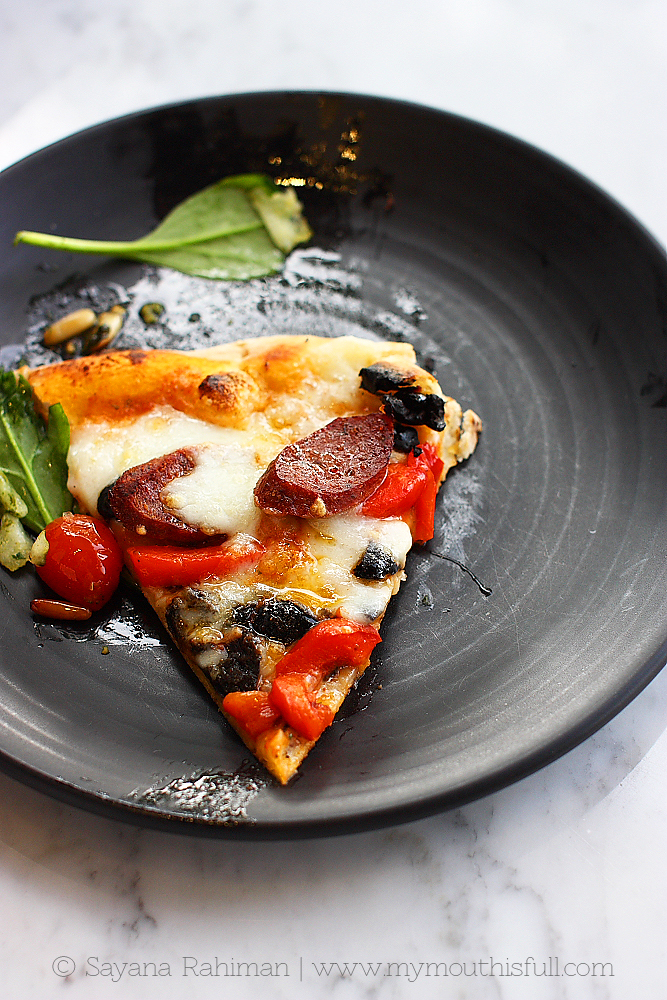 King Pizza - Wagyu Chorizo, red peppers, olives, Parmesanand Mozarella.