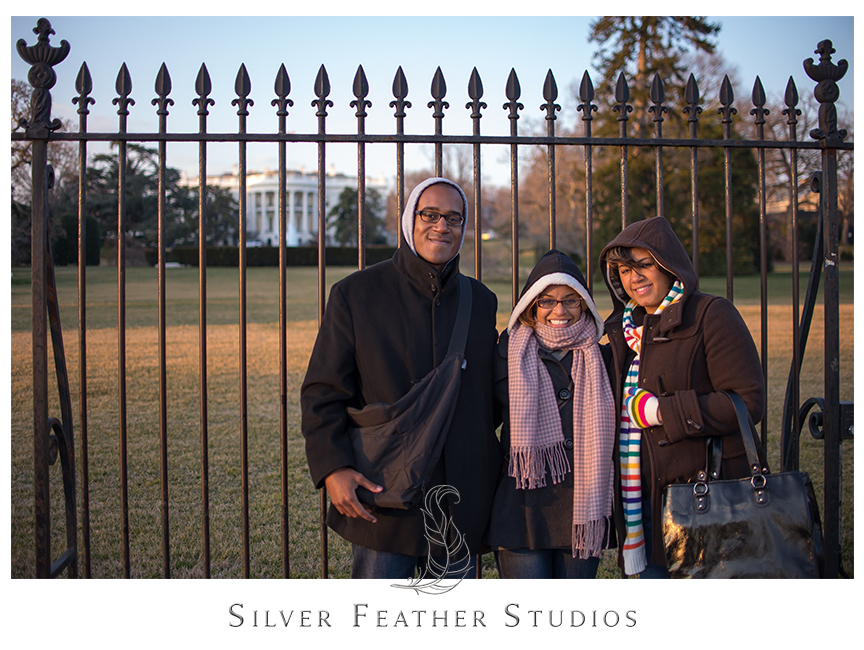Brian and I pose with friends in front of the White House.