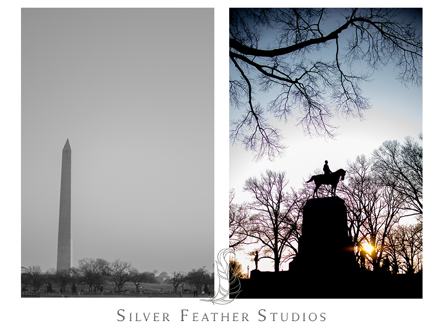 The Washington Monument and a statue in Washington DC.