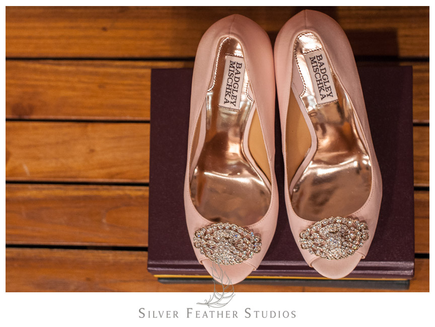 Bride's pink rhinestone Badgley Mischka shoes on top of a New World Translation Bible.