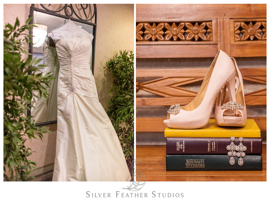 Badgley Mischka shoes and Anjolique Bridal Gown.
