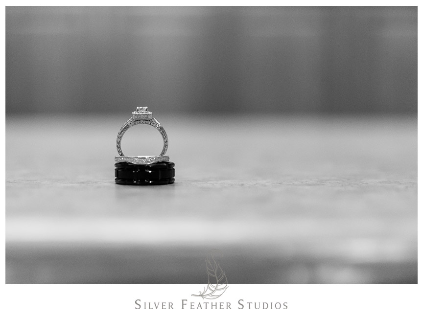 The bride and groom rings on a counter top in Philadelphia.