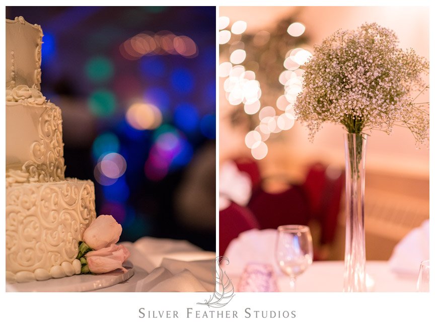 Gorgeous wedding cake and baby's breath centerpieces at Spring Mill Ballroom.