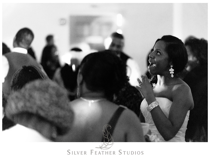 Janine dances with her friends at her reception at the Spring Mill Ballroom.