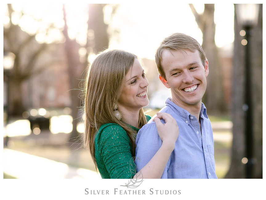 UNC Chapel Hill Engagement Session with Kelly and Hugh by the Old Well. © Silver Feather Studios, Chapel Hill Wedding Photography & Videography