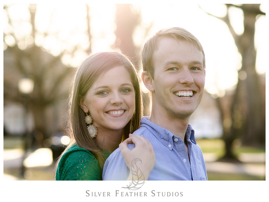 Gorgeous sunlight at UNC Chapel Hill Engagement Session. © Silver Feather Studios, Chapel Hill Wedding Photography & Videography