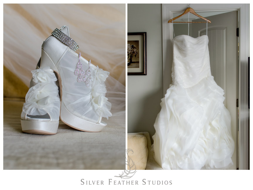 Gorgeous Vera Wang Wedding Dress with bridal shoes.