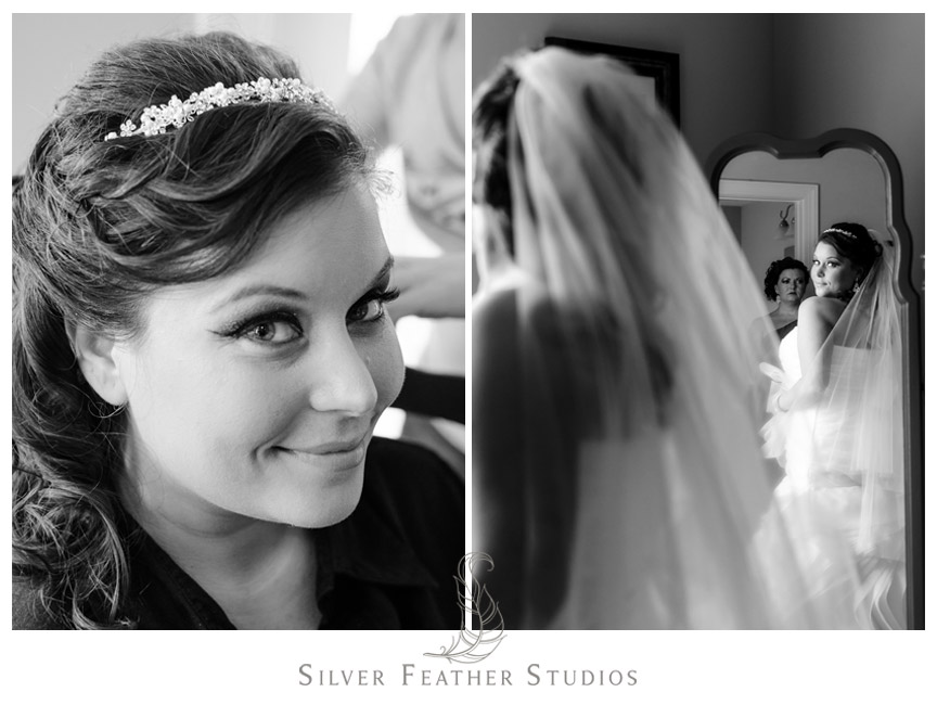Bride looks at herself on her wedding day in Holly Springs, North Carolina.