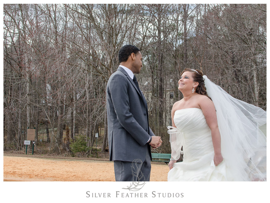 First Look between bride and groom at Bass Lake in Holly Springs North Carolina.