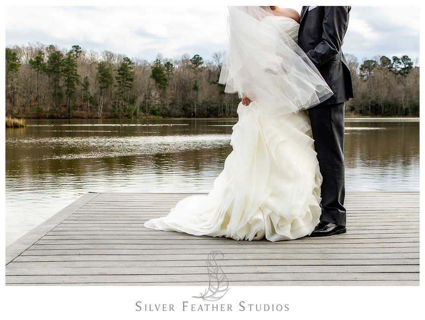 Vera Wang and Men's Wearhouse Tux on bride and groom - by North Carolina Wedding Videographer and Photographer