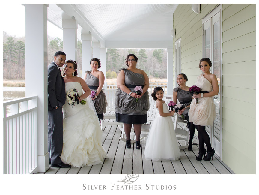 The bridal party in Vera Wang bridesmaid dresses - NC Wedding Videography and Photography.
