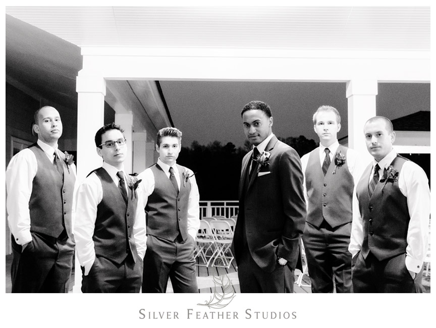 Groom and Groomsmen in Men's Wearhouse Tuxedos at Bass Lake Park.
