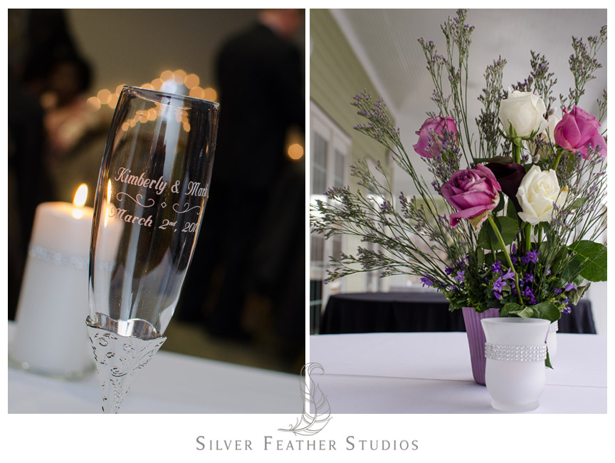 Personalized wine glasses and rose centerpieces - Bass Lake Wedding, Holly Springs, NC.