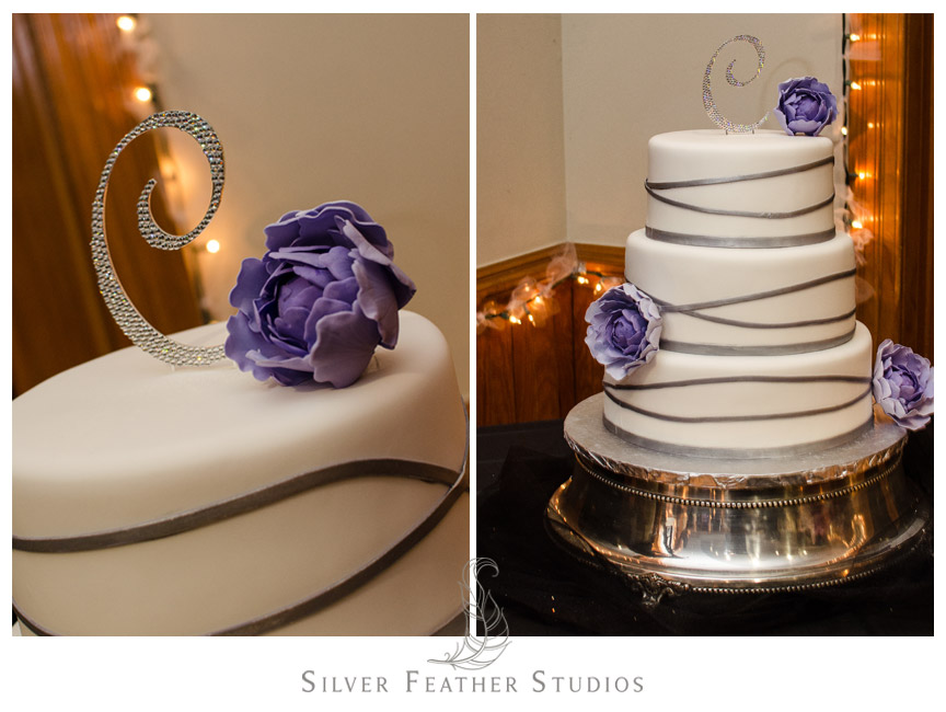 Gorgeous purple wedding cake with alphabet cake topper. NC Wedding Videography and Photography.