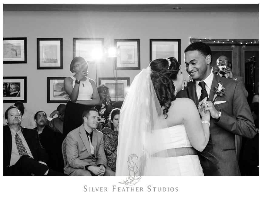 First dance between bride and groom in Holly Springs North Carolina.