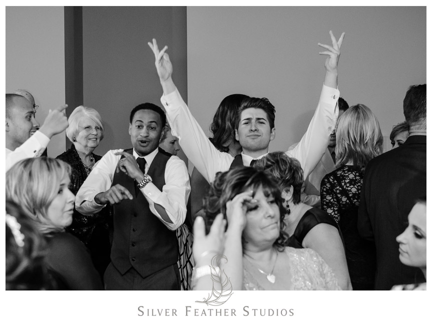 Throw your hands up! Fun dancing at this Bass Lake Wedding!