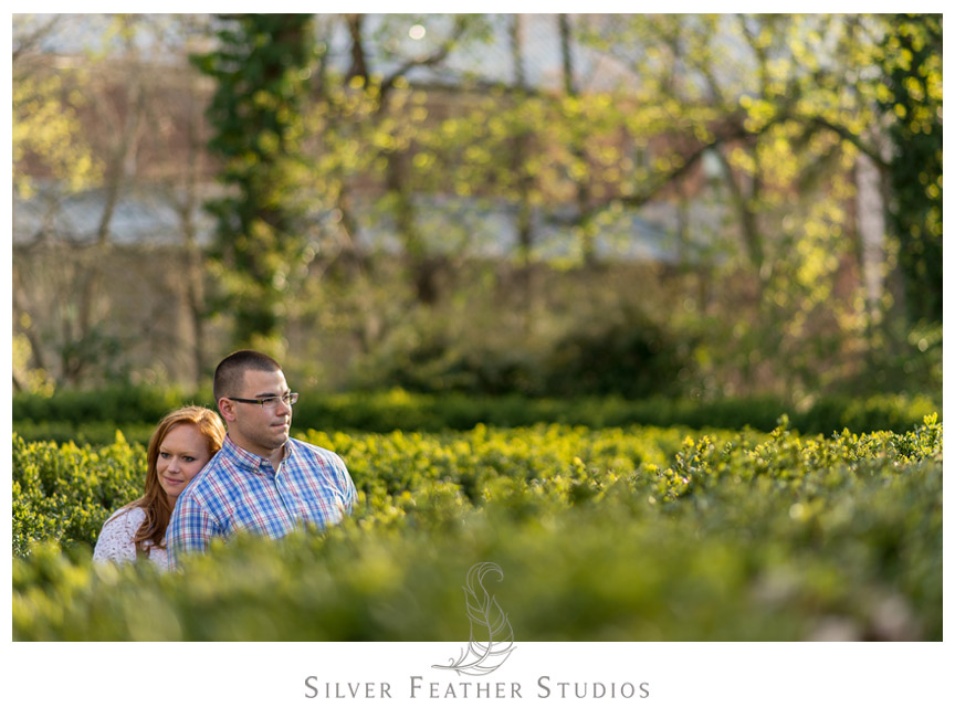 Lovely image of the bride and groom at their UNC Chapel Hill engagement session. © Silver Feather Studios, Chapel Hill Wedding Photography and Videography