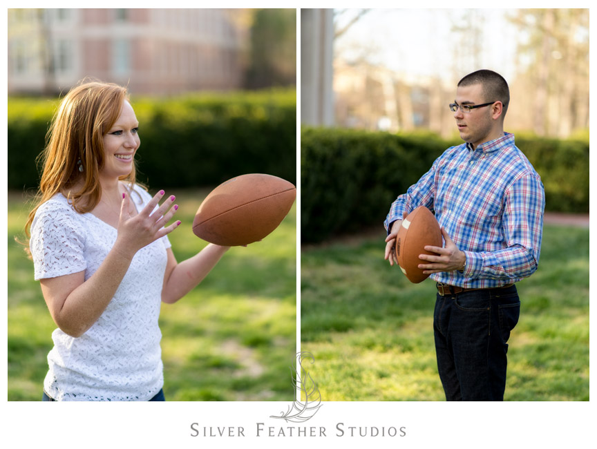 Erin and Adam play football at UNC chapel hill during their engagement session. © Silver Feather Studios, Chapel Hill Wedding Photography and Videography