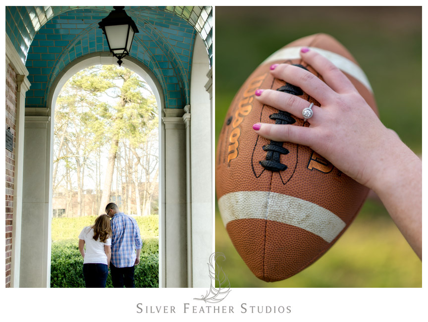Engagement ring pops against a Wilson football at their UNC Chapel Hill engagement session. © Silver Feather Studios, Chapel Hill Wedding Photography and Videography