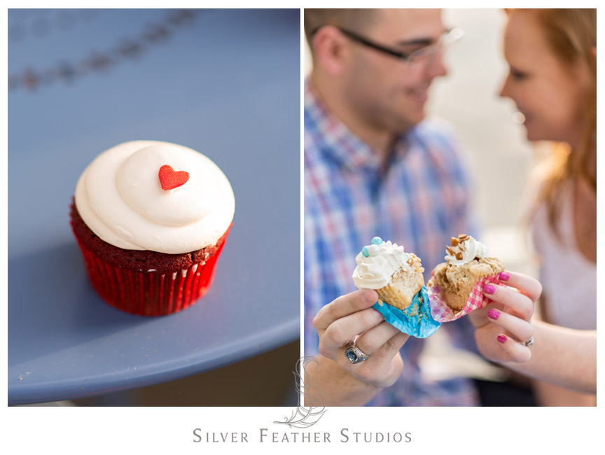 Delicious red velvet cupcake with a red heart from Sugarland for the engaged couple at their Chapel Hill engagement session. © Silver Feather Studios, Chapel Hill Wedding Photography and Videography