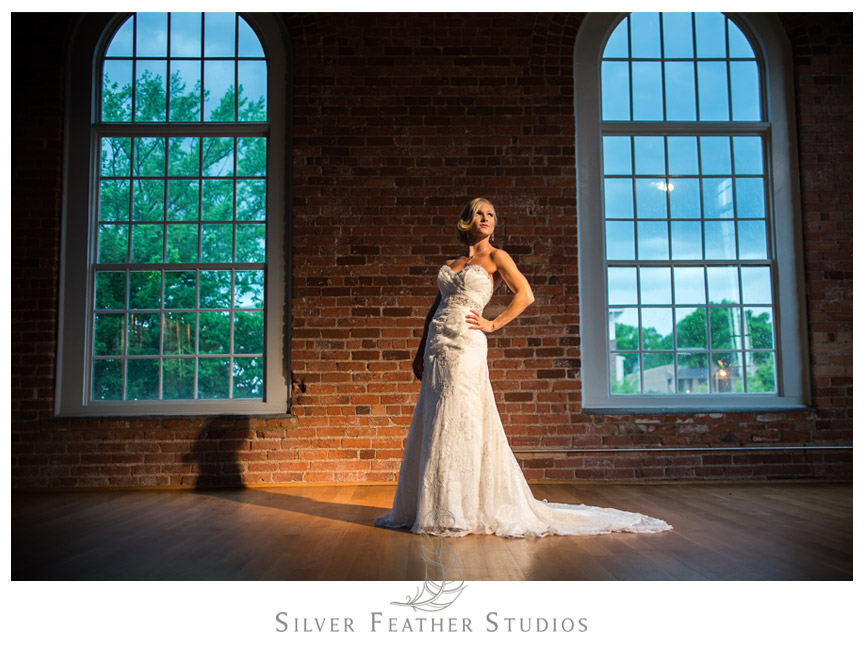 Spotlight on this bride in her Maggie Sottero gown in the Cotton Room.