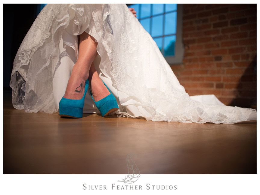UNC Chapel Hill Tar Heel alumni bride at The Cotton Room by Silver Feather Studios