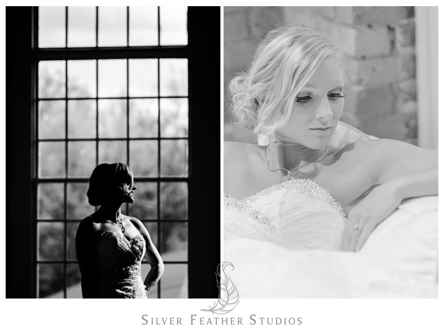 Black and white photographs of Tiffany's bridal session by Durham NC Wedding Photographer.