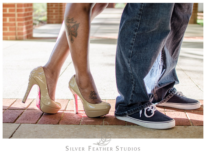 Photo of engaged couples pretty shoes in Burlington, NC.