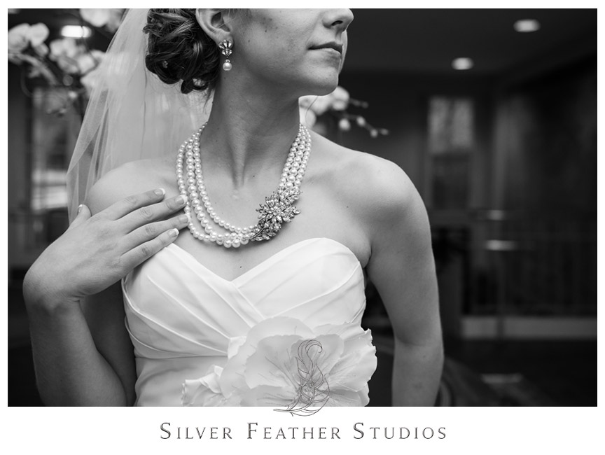 Bride Kelly poses at her Carolina Club Wedding in Chapel Hill. © Silver Feather Studios, Chapel Hill Wedding Photography and Videography