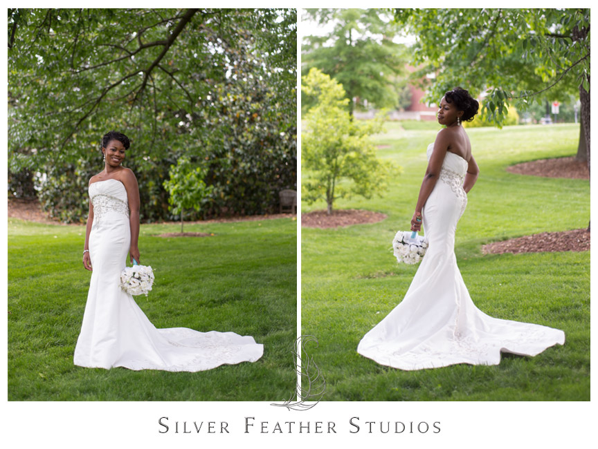 Bride poses on UNCG campus with Silver Feather Studios