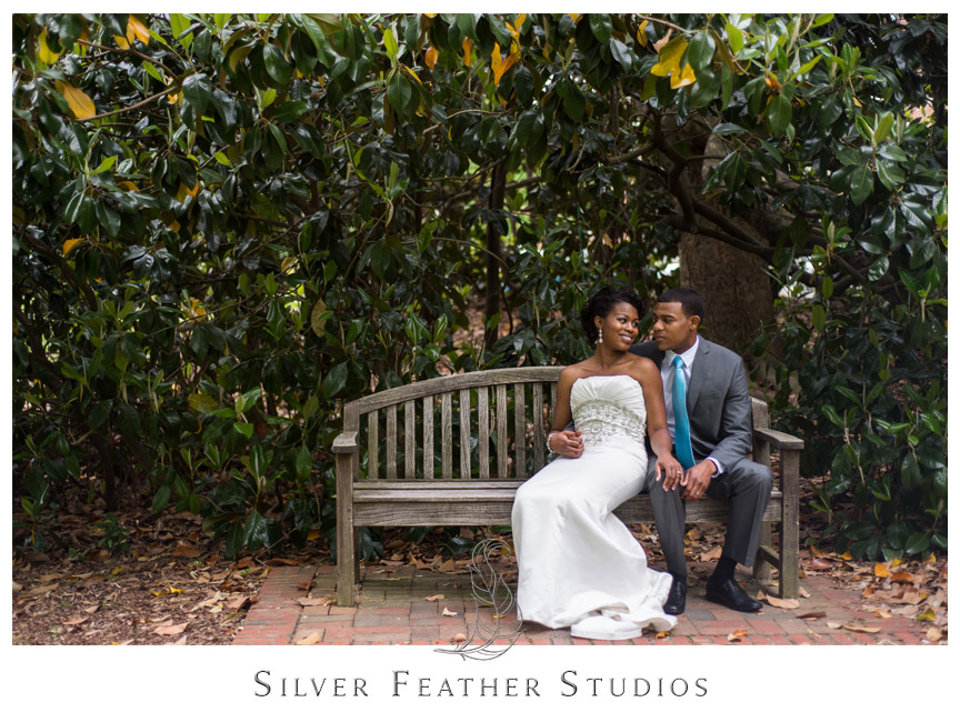 Bride and groom pose by gorgeous magnolia tree at UNCG. Photography by Silver Feather Studios.